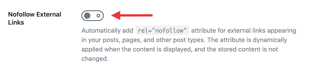 Enable nofollow of external links