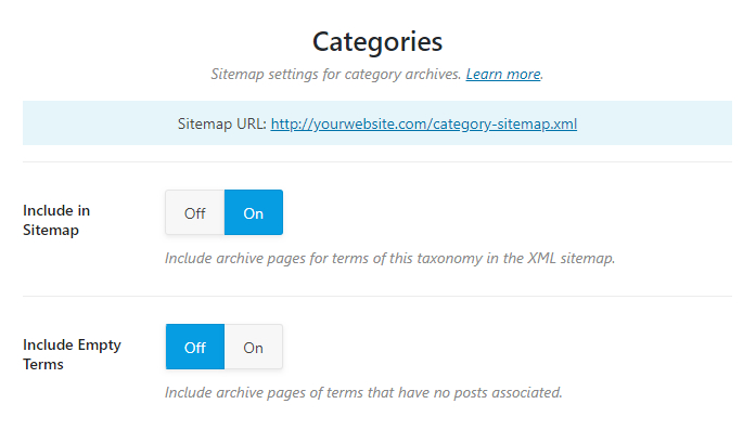 all options in categories sitemap