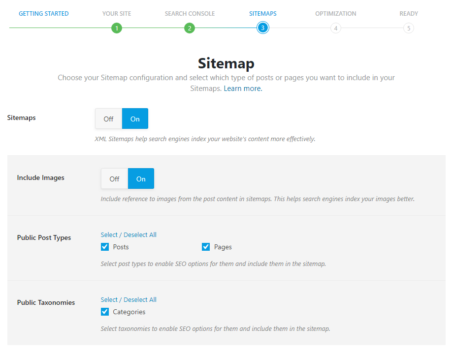 all options in sitemap settings