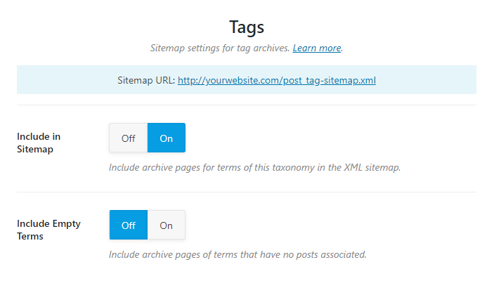all options in tag sitemaps