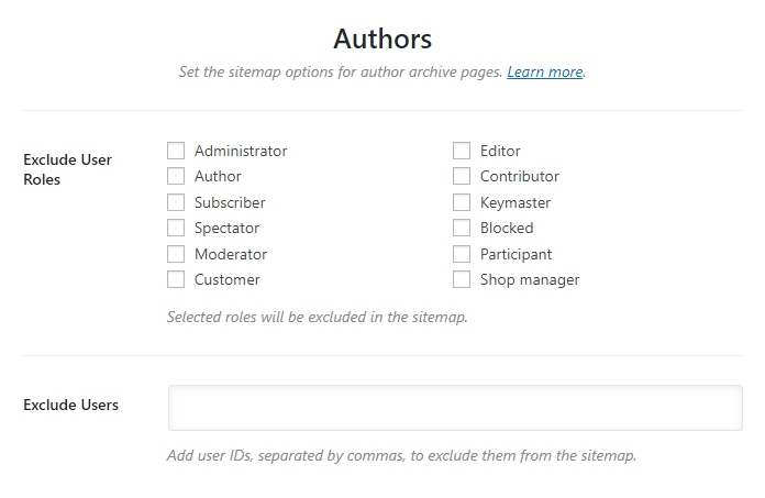 all options in the author tab