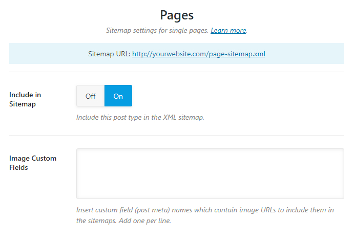 all options in the pages sitemap tab