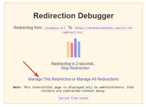 click manage redirect in intersticial
