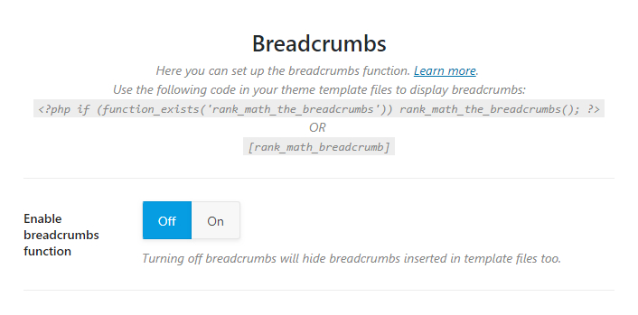 default options in breadcrumbs section