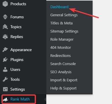 go to rank math dashboard
