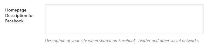homepage description for facebook