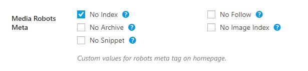 media robots meta custom settings