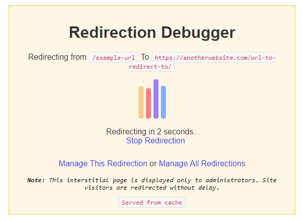 redirection debugging intersticial appears