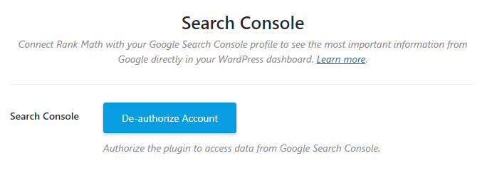 search console authorized