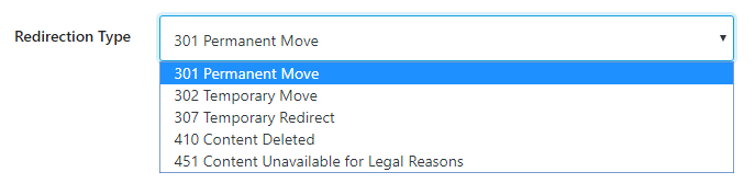 type of redirection options