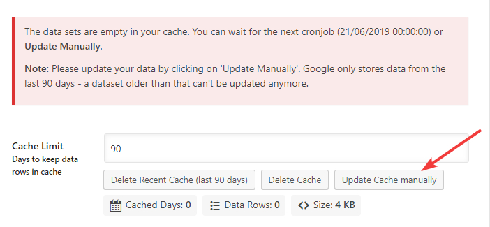 update cache manually