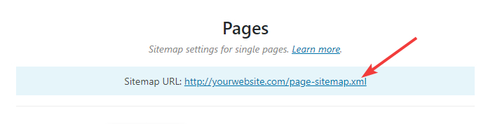 url of pages sitemap