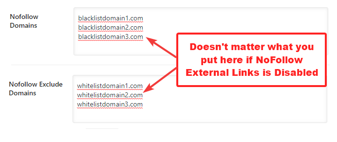 what happens if nofollow external links is off