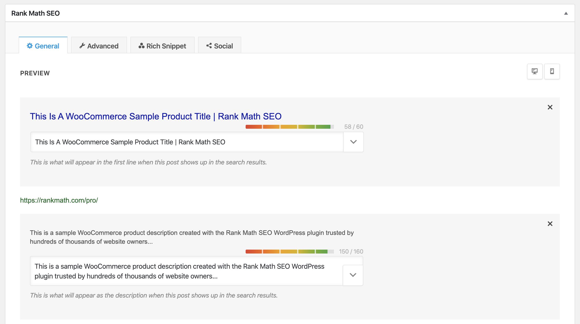 Opción de Rank Math para editar las metaetiquetas de un solo producto