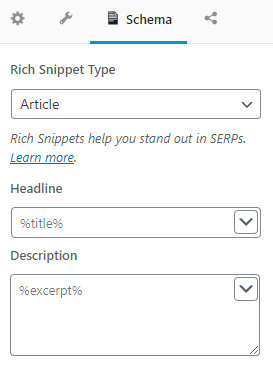 edit seo description in the schema section of rank math