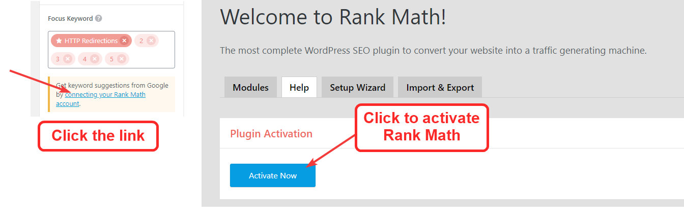 rank math activation page and link