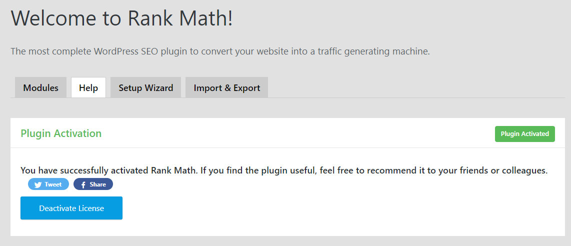 rank math successful activation page