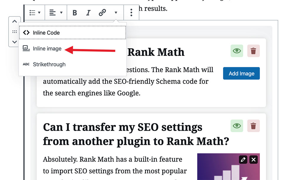 Rank Math FAQ block Inline Image option