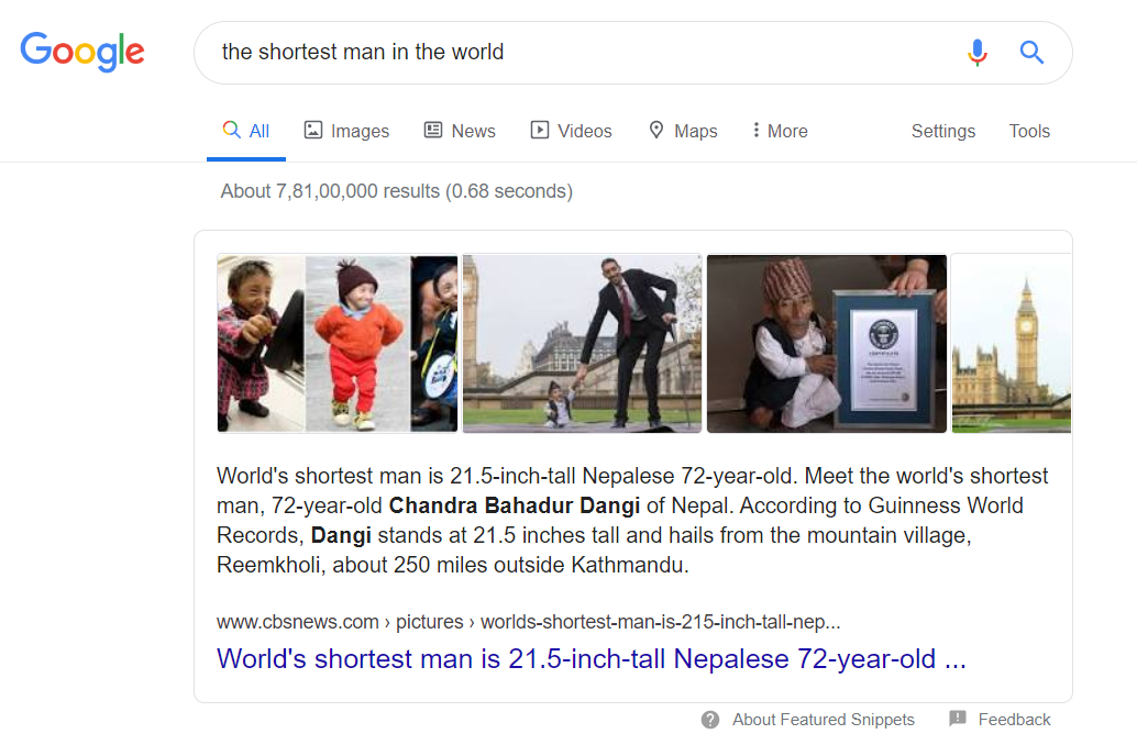 An Example Of Text Based Snippet In Google Search