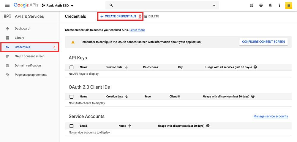 Google API Create Credentials