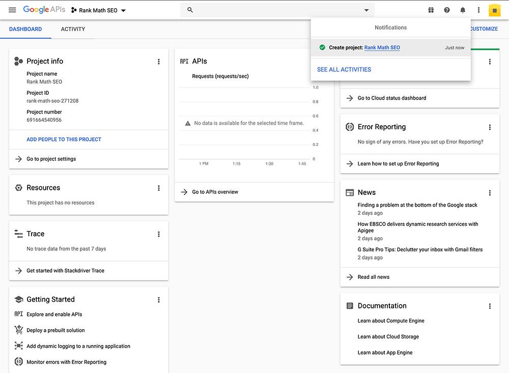 Google API Project Dashboard