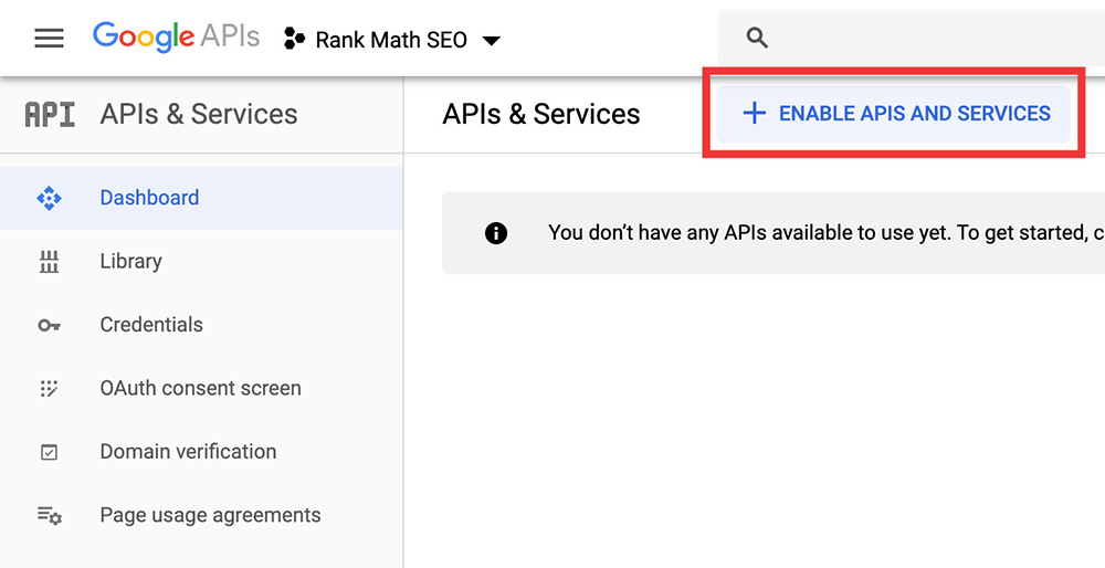 Google API Enable APIs