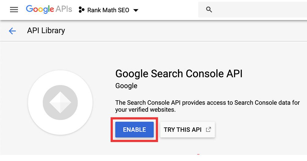 Google API GSC Enable APIs
