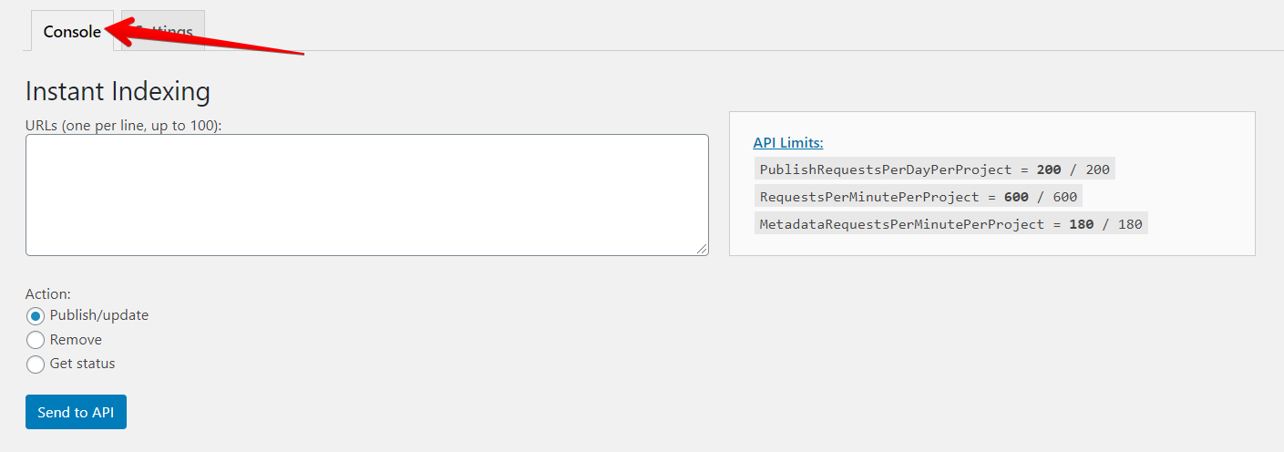 Plugin Instant Indexing Rank Math
