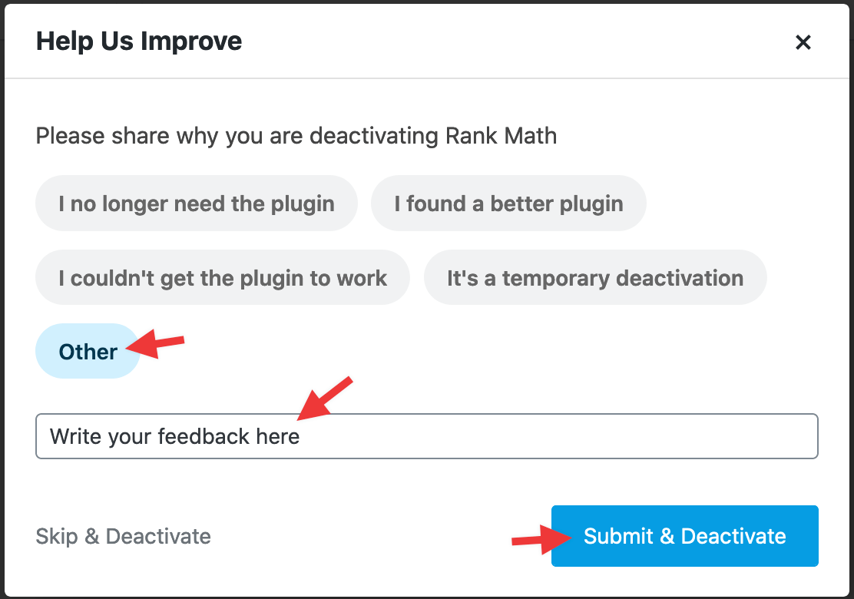 Rank Math Deactivation Survey Feedback Form