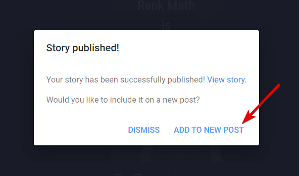 Create New Post With Story Embedded