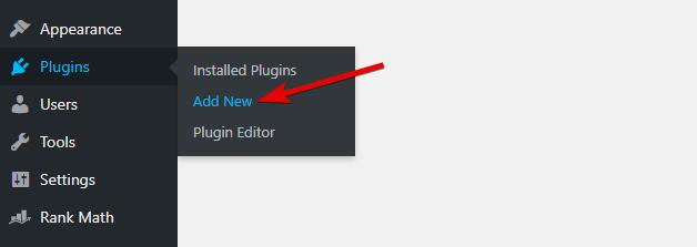 Head To Plugins -> Add New To Add The Plugin