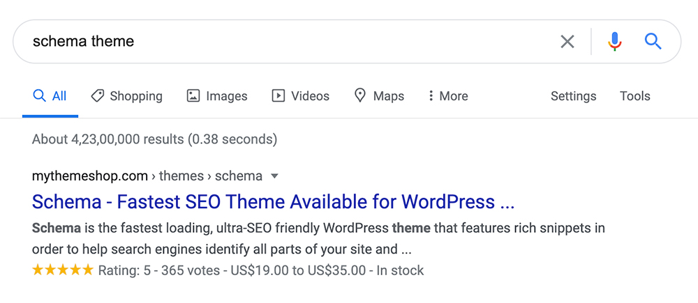 Google search result showing WooCommerce Product Schema