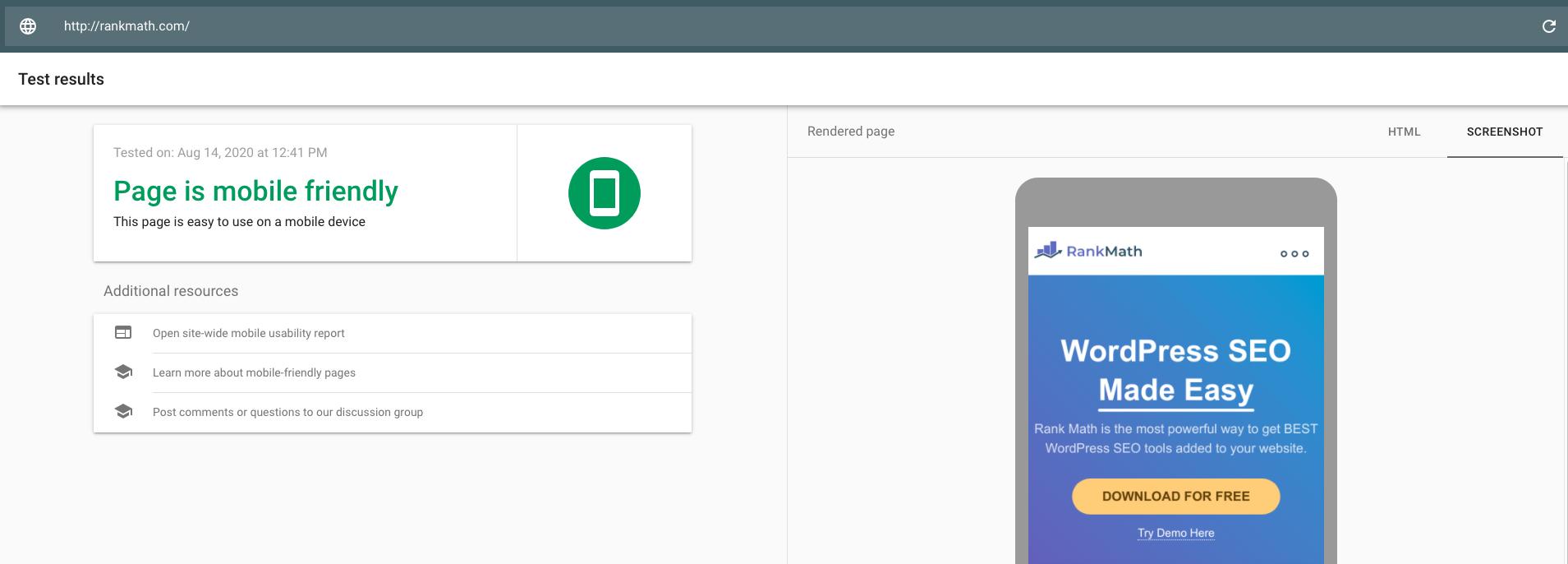 Google Mobile Friendly testing tool