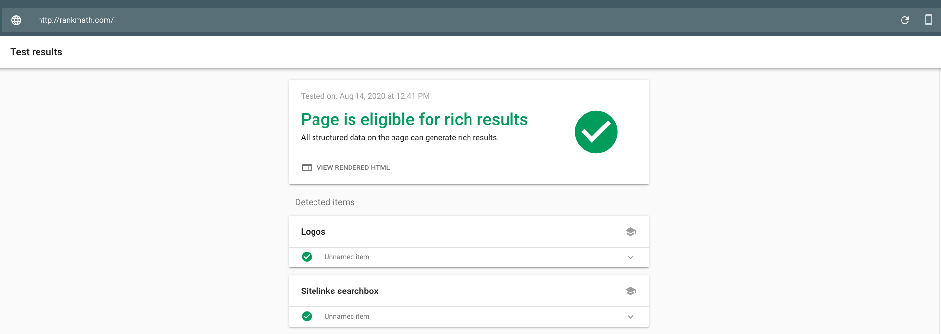 Google Rich Results testing tool