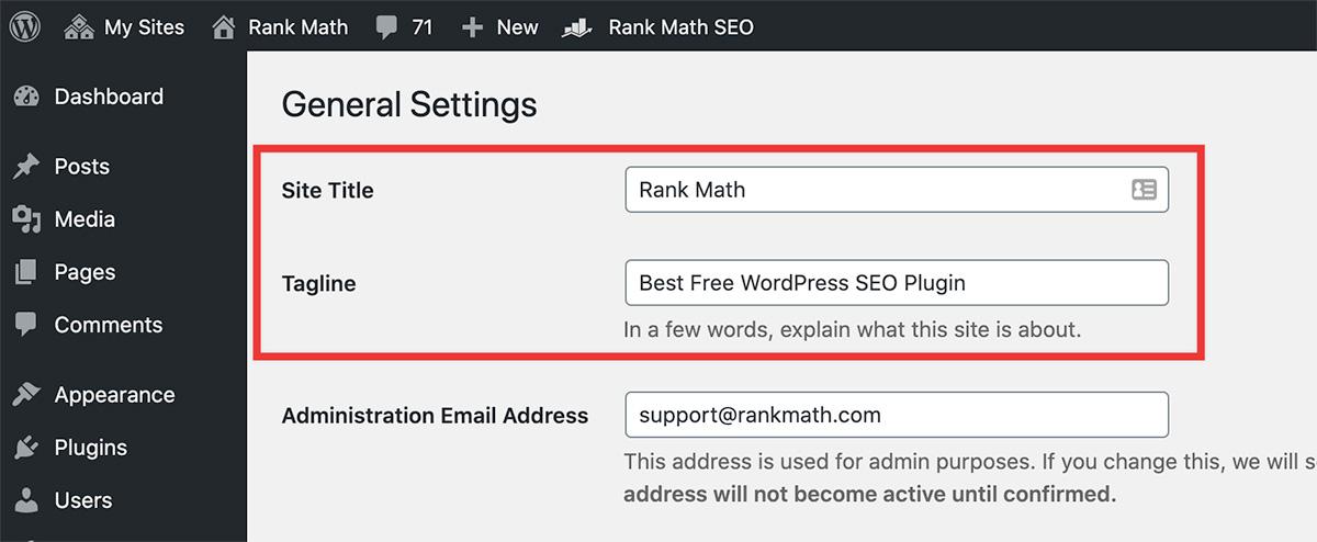 Site Title & Tagline settings