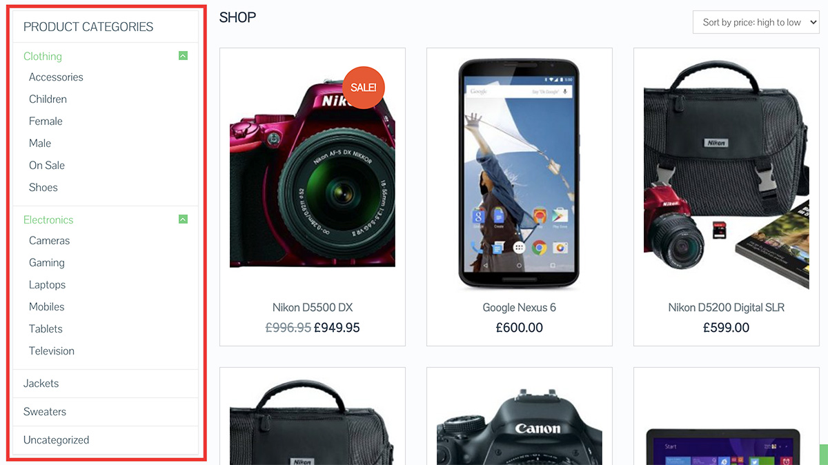 WooCommerce Category Structure