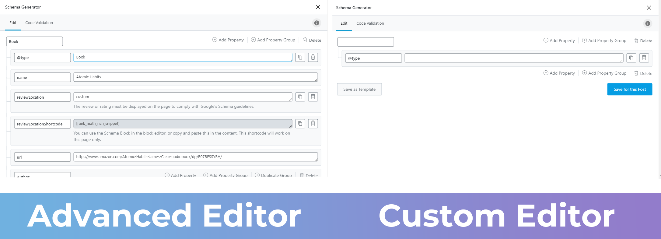 Similarity Between Advanced And Custom Editor