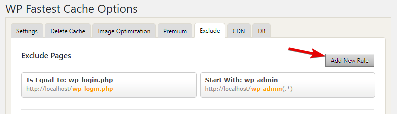 Add New Rule In Exclude Tab In WP Fastest Cache