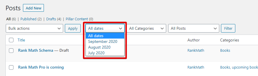 Date Based Filter In Rank Math