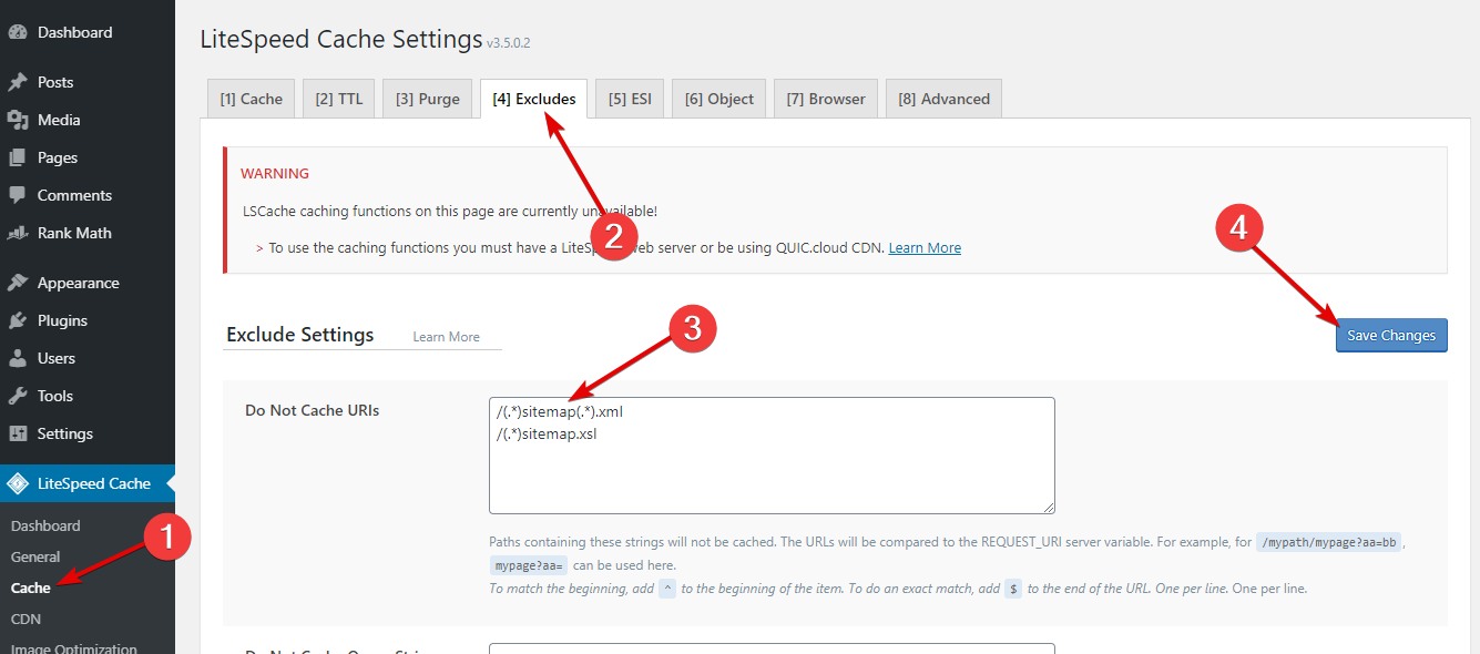 Exclude Sitemap Caching In LiteSpeed Cache