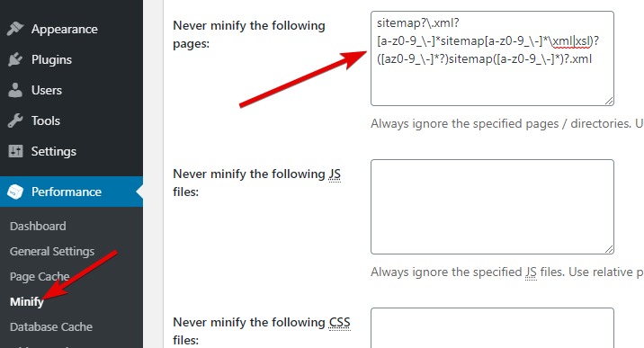 Exclude Sitemap In Minify W3 Total Cache