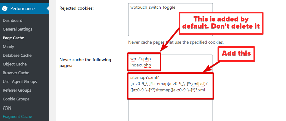Exclude Sitemap In W3 Total Cache