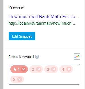 Focus Keywords Added To Post With 5 Limit