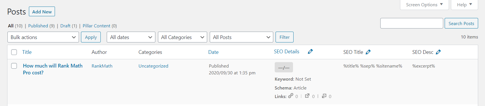 How Post Screen Appears After Enabling SEO Settings