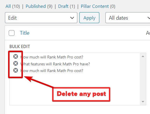 How To Exclude Posts From Bulk Edit