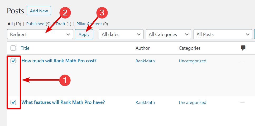 How To Use The Redirect Bulk Action In Rank Math
