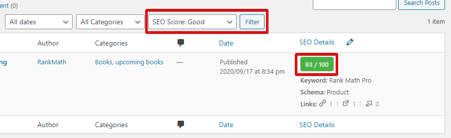 Rank Math Filters All Posts With Good SEO Score