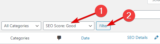 Using The SEO Score Good Filter In Rank Math
