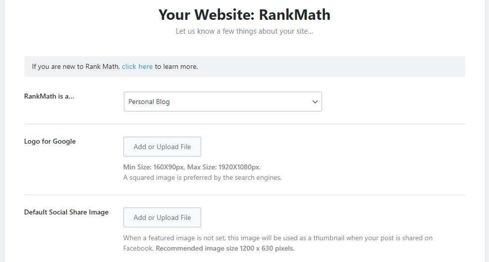 Your Website Details Setup Page In Rank Math