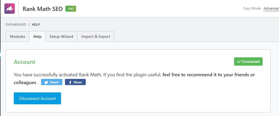 Rank Math PRO activated